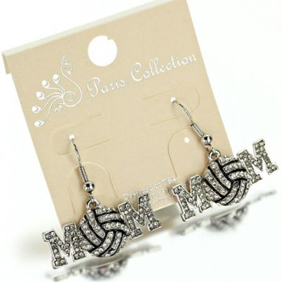 """Sports """"Volleyball Mom"""" Fish Hook Earrings"""