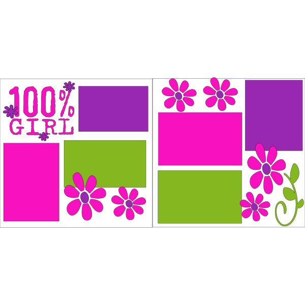 100% GIRL FLOWERS  -basic page kit