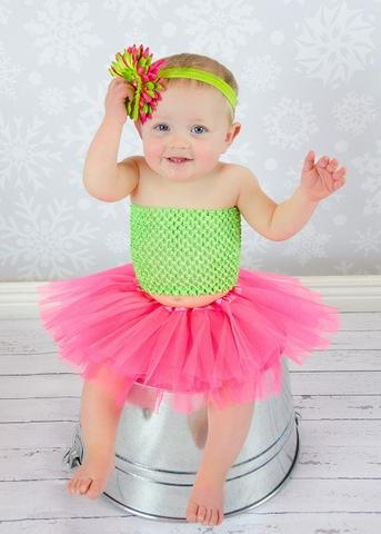 Hot Pink & Lime Sweetie Pie Tutu Set - Tutu, Top & Headband