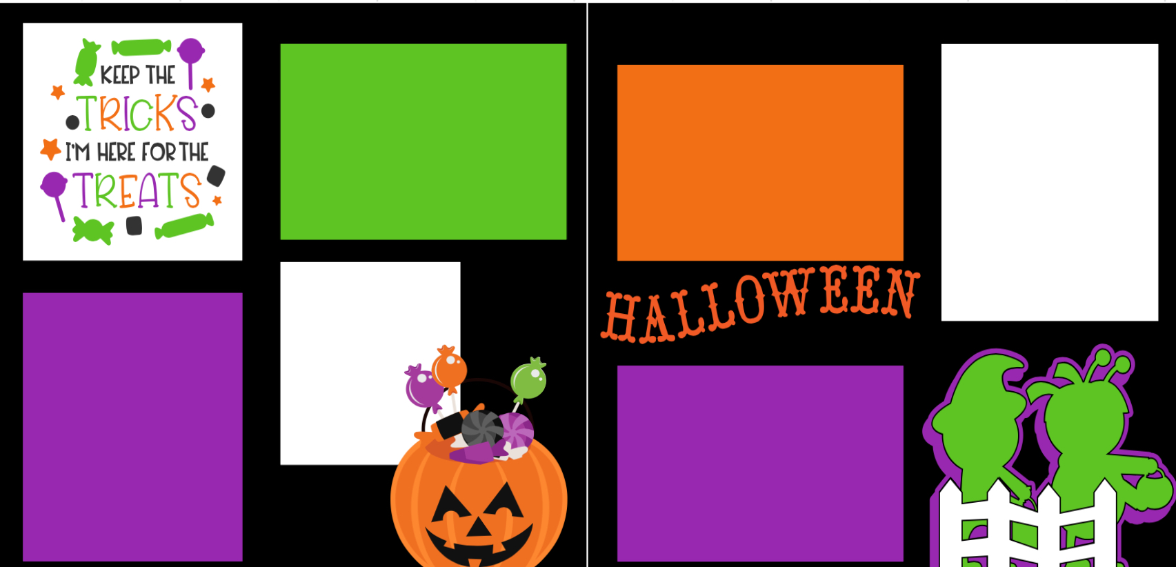 Halloween no tricks only treats-  page kit