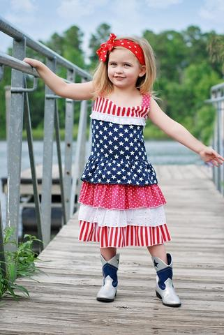 Red White & Blue Stars & Stripes Ruffles Dress With Eyelet Lace