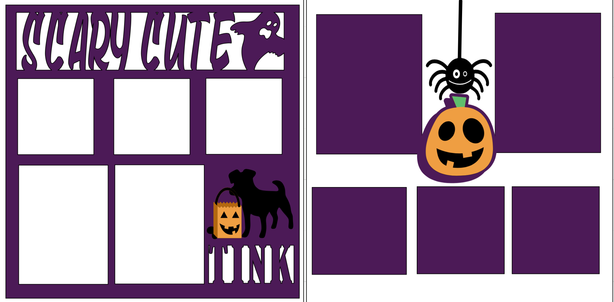 Scary Cute Halloween dog-  page kit