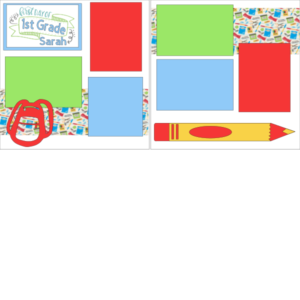 1st day of School all grades (personalized) ***   -basic page kit