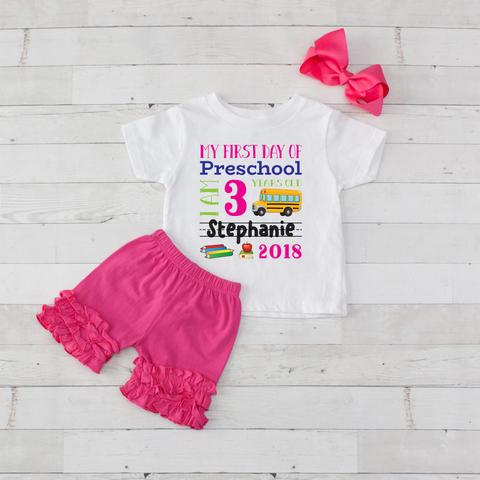 My First Day of PRESCHOOL or  Kindergarten Personalized 3pc Shirt and Short Set Hot Pink