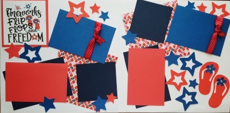 FIREWORKS FLIP FLOPS AND FREEDOM 4TH OF JULY PAGE KIT