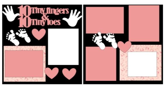 10 tiny fingers girl  -basic page kit