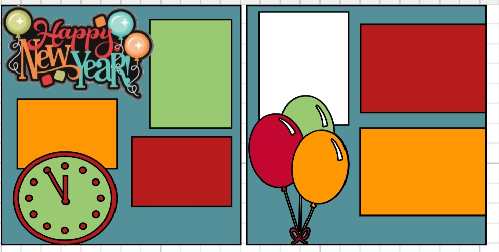 Happy New Year ( balloons) page kit