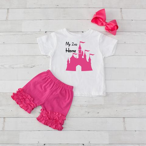 My 2nd Home Disney Castle 3 piece shirt and shorts set hot pink