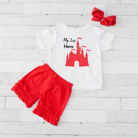 My 2nd Home Disney Castle 3 piece shirt and shorts set