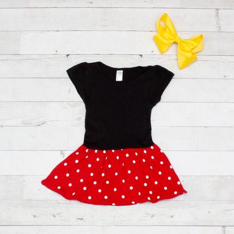 Inspired Red & Black Polka Dot Dress