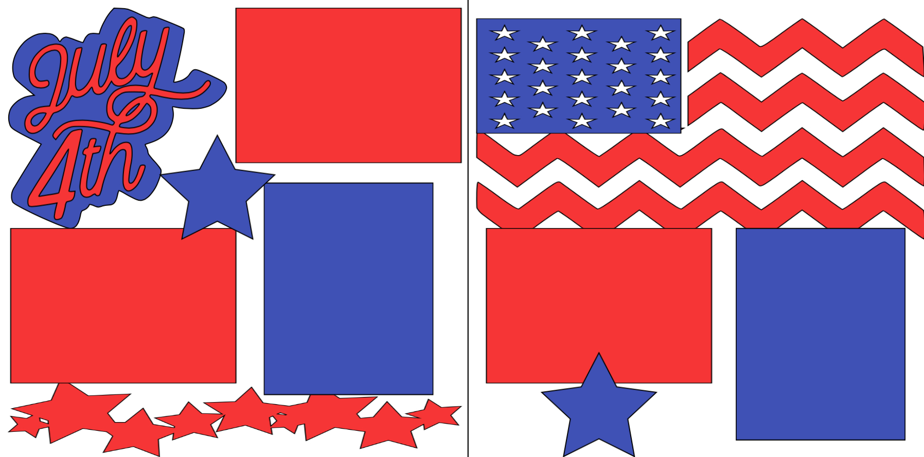 4th of July (flag)-  page kit