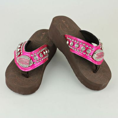 """Sports Themed """"Football"""" Crystal Flip Flops Shoes PINK"""