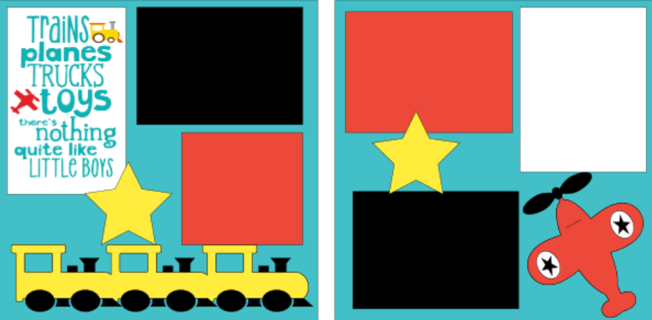 Trains.planes trucks and toys...little boys-  page kit