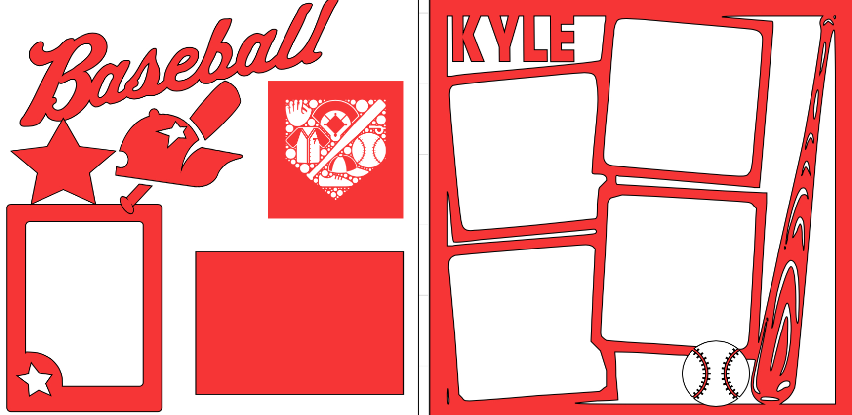 Personalized Baseball-  page kit