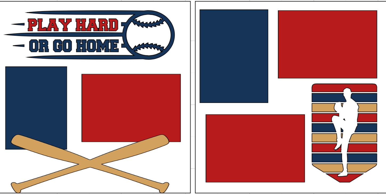 Baseball Play hard or go home -  page kit
