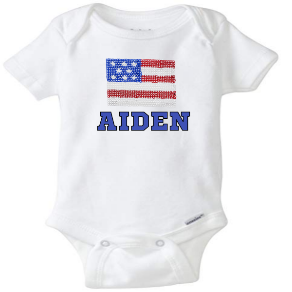 SEQUENCE FLAG ONESIE BABY PERSONALIZED SPECIAL
