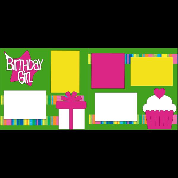 BIRTHDAY GIRL PINK STAR -basic page kit