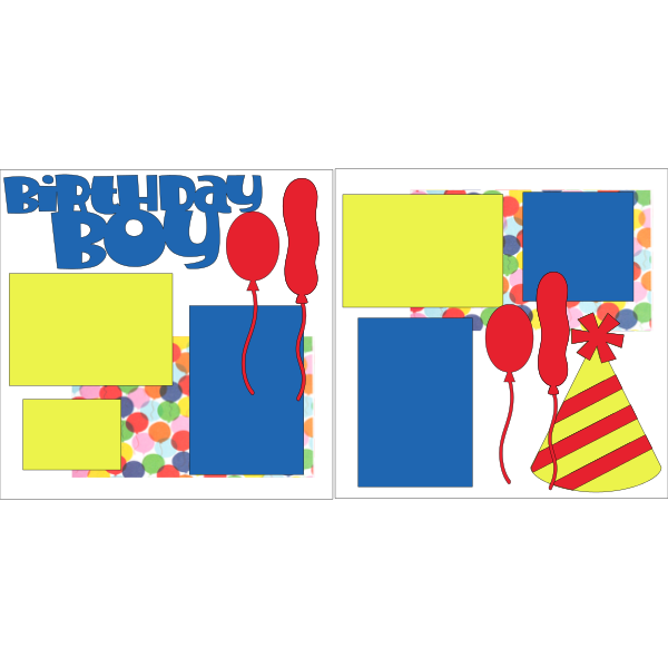 BIRTHDAY BOY BALLOONS AND HAT  -basic page kit
