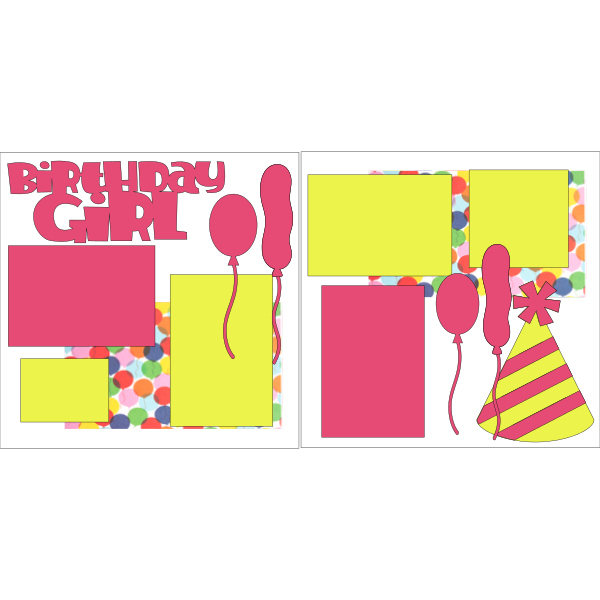 BIRTHDAY GIRL BALLOONS AND HAT  -basic page kit
