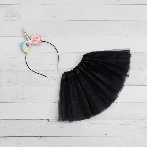 Unicorn Headband/Bow Tutu Set -black