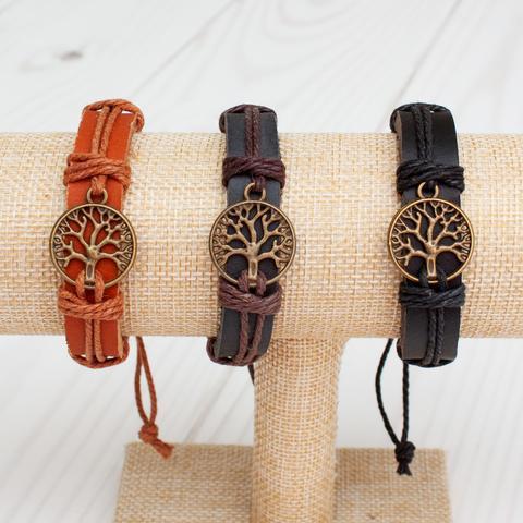 Bronze Tree of Life Leather Band Bracelet - 3 Colors WP