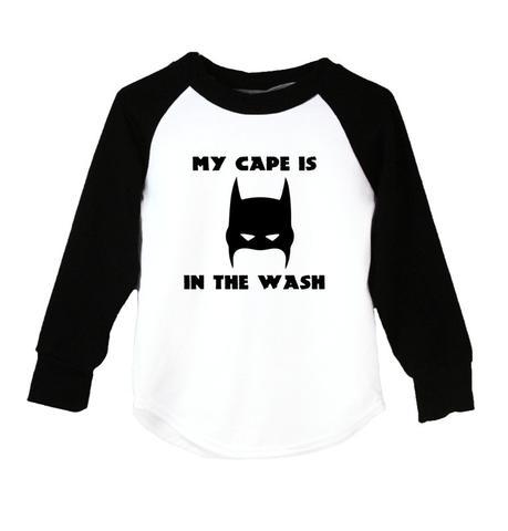 BOYS-My Cape Is In The Wash (Batman) Raglan T-Shirt
