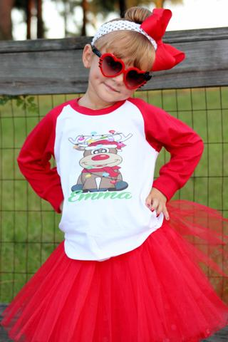 PERSONALIZED CHRISTMAS REINDEER TEE AND TUTU