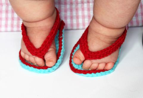 Aqua And Red Crochet Baby Flip Flops
