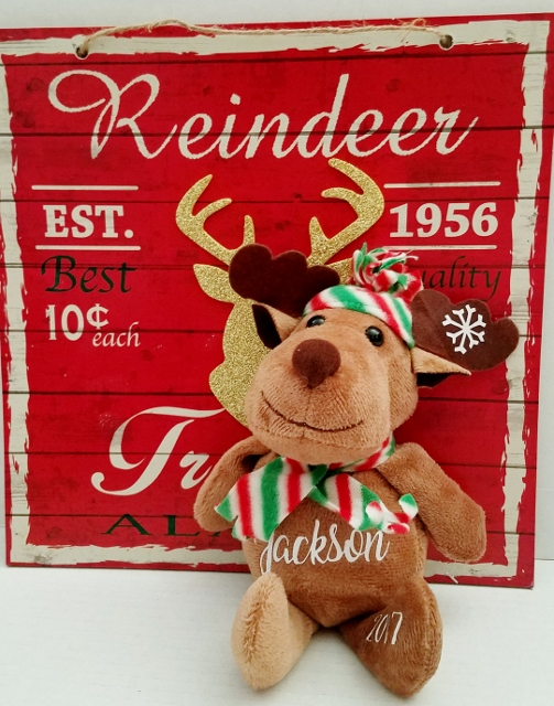 PERSONALIZED CHRISTMAS REINDEER - GIFT STOCKING/ STUFFER