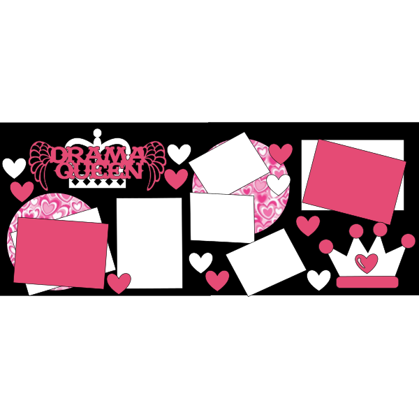 DRAMA QUEEN PINK HEARTS  -basic page kit