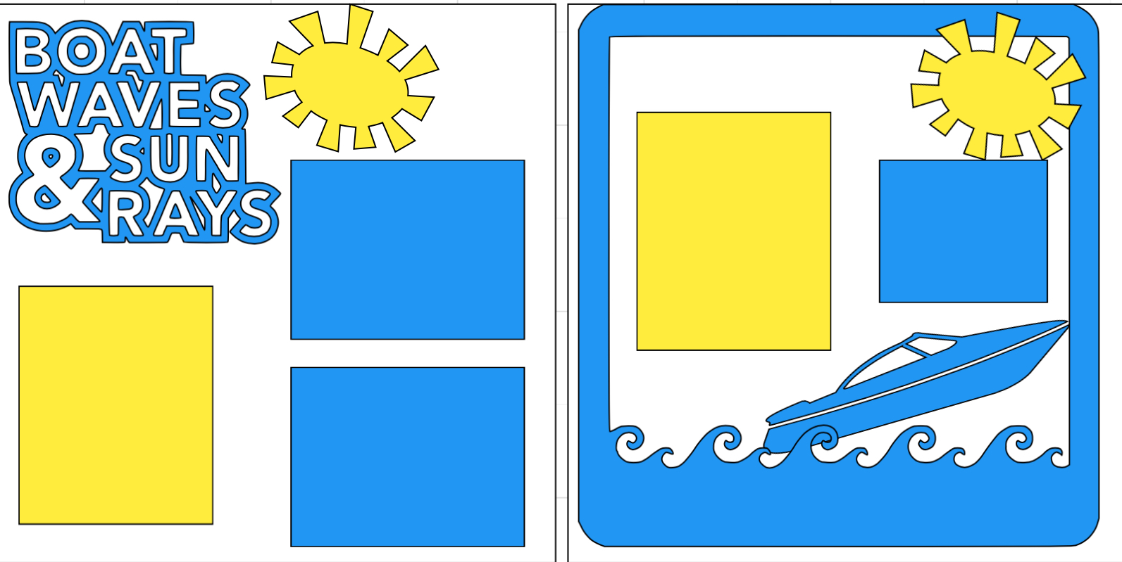 Boat Waves and Sun rays -  page kit