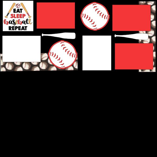 EAT SLEEP BASEBALL REPEAT  -basic page kit