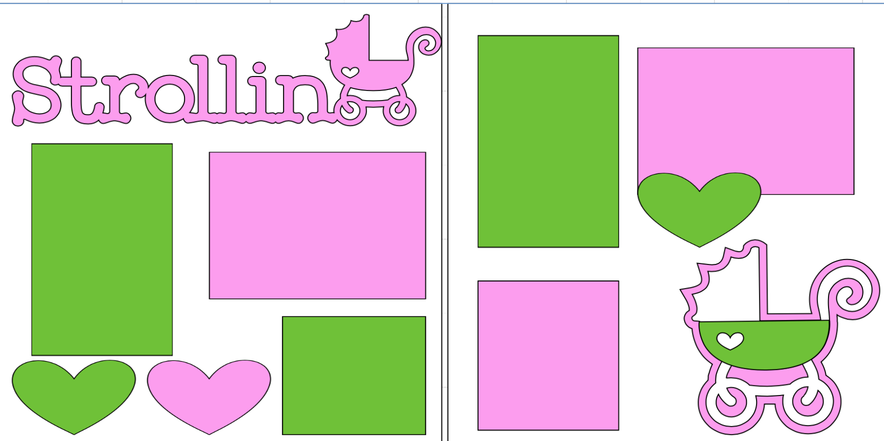 Strollin (girl)-  page kit