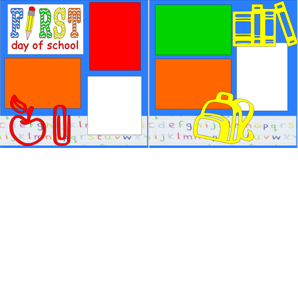 FIRST DAY OF SCHOOL (SUPPLIES)  -basic page kit