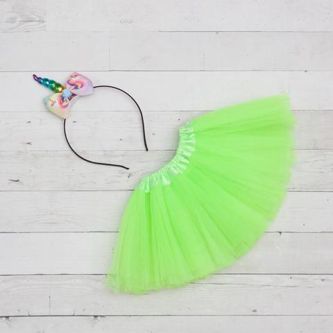 Unicorn Headband/Bow Tutu Set -green