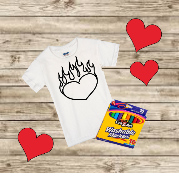 HEARTS ON FIRE COLORING TSHIRT