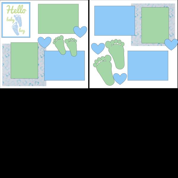 HELLO BABY BOY   -basic page kit