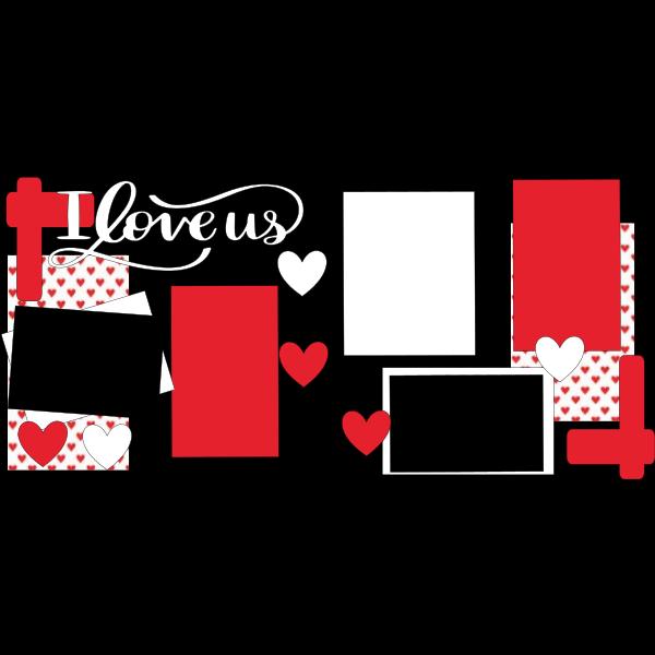 I LOVE US HEARTS  -basic page kit