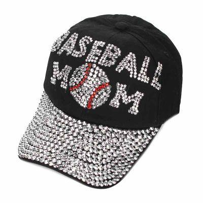 "Sports ""Baseball MOM"" Rhinestone Cap- BLACK"