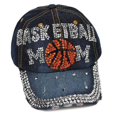 "Sports ""Basketball MOM"" Rhinestone Cap-DENIM"