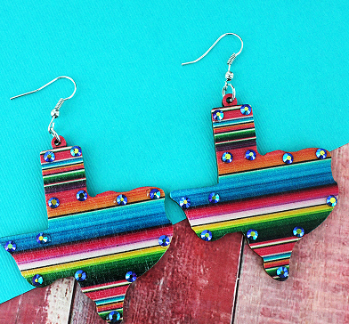 IRIDESCENT CRYSTAL SERAPE TEXAS EARRINGS