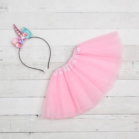 Unicorn Headband/Bow Tutu Set -light pink