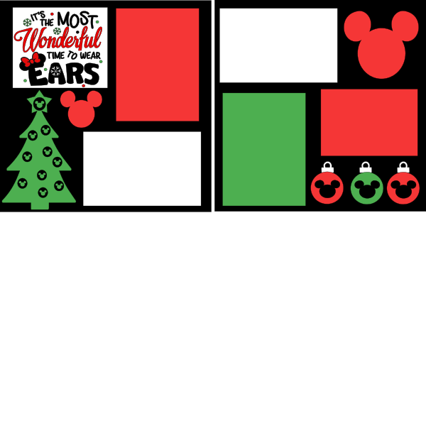 DISNEY CHRISTMAS THE MOST WONDERFUL TIME TO WEAR EARS   -basic page kit