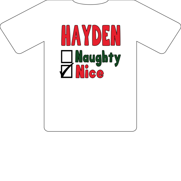 T-SHIRT CHRISTMAS PERSONALIZED NAUGHTY OR NICE