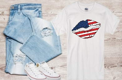 USA PATRIOTIC KISS LIPS T-SHIRT