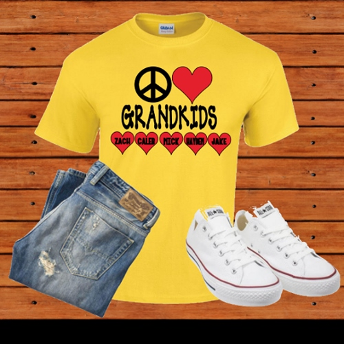 PERSONALIZED PEACE LOVE GRANDKIDS T-SHIRT