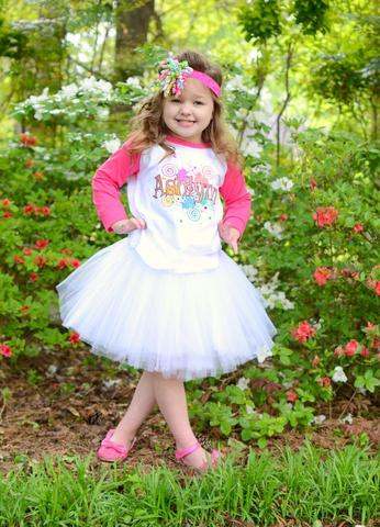Personalized graffiti shirt with white tutu