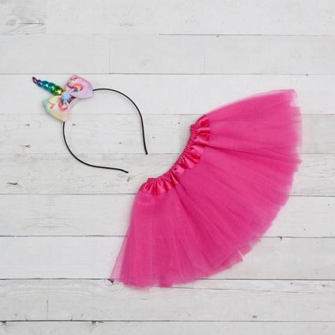 Unicorn Headband/Bow Tutu Set -hot pink