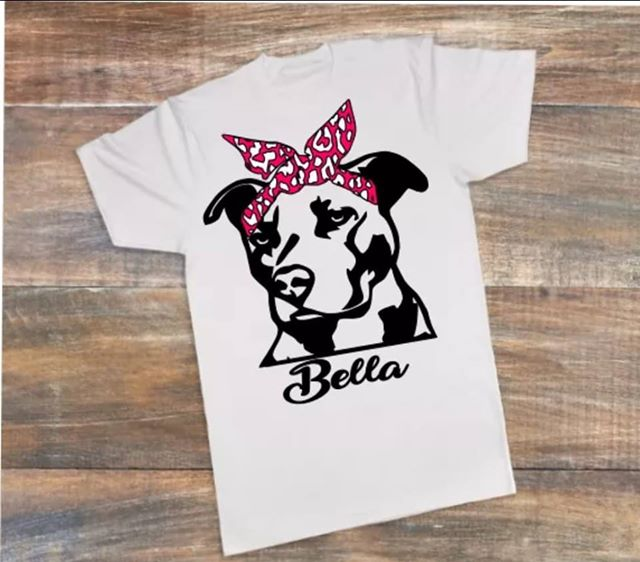 PIT BULL WITH BANDANA T-SHIRT