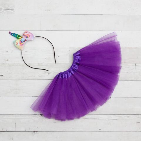 Unicorn Headband/Bow Tutu Set - purple